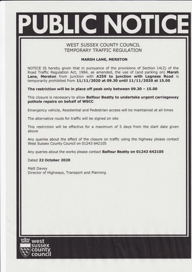 Marsh Lane Road Closure Notice for 11th November 2020